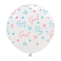"Boy or Girl? Gender Reveal White 24"" Latex Balloon 1ct"