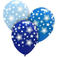"Bright Blue Stars 12"" Latex 25ct"