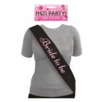Black Bride To Be Sash With Pink Text