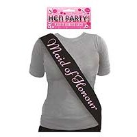 Sash Maid Of Honour Black with Pink Text