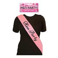 Sash Hen Party Pink with Black Text
