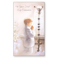 Communion Card and Rosary Set - Boy Pack Of 6