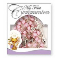 Communion Rosary - Plastic - Pink - Counter Display Pack of 12