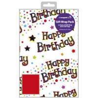 Happy Birthday Packed Wrap H:69 x W:49 cm