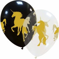 "Unicorn Black and Transparent 12"" Latex Balloons 50Ct"