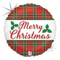 "Christmas Plaid 18"" Foil Balloon"