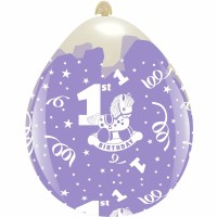 """1st Birthday Rocking Horse 18""""  Clear Stuffing Balloon 10ct"""
