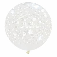 """On My Confirmation 32"""" Clear Giant Latex Balloon"""