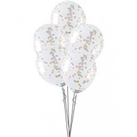 """16"""" Clear Latex Balloons With Pink, Blue And Gold Star Confetti 5ct"""