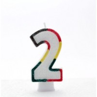 Age 2 Multi Colour Candle Neutral (Pack of 6)