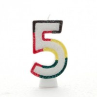 Age 5 Multi Colour Candle Neutral (Pack of 6)