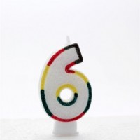 Age 6 Multi Colour Candle Neutral (Pack of 6)