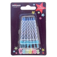Blue Stripe Party Candle 12Ct (Box of 6)