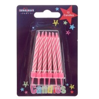 Pink Stripe Party Candle 12Ct (Box of 6)