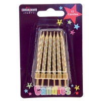 Gold Party Candle 12Ct (Box of 6)
