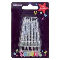 Silver Party Candle 12Ct (Box of 6)
