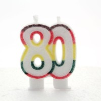 80 Double Age Multicoloured Candle 6ct