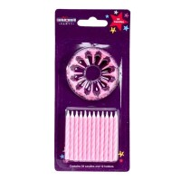 Pink Stripe Candles w/Holders 24ct 6pcs