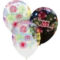 "Happy Birthday Colourful Fireworks 13"" Latex 50Ct"