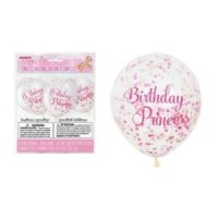 "Pink Princess 12"" Clear Balloons With Confetti 6ct"