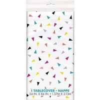 """Triangle Confetti Birthday Plastic Tablecover 54"""" x 84"""""""