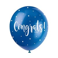 "Congrats  5CT 12"" Helium Fill Latex Balloon- Pearlized Assorted Colours, Printed All Around - 5ct"