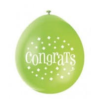 "Congrats 9"" Latex Air Fill Balloon - Assorted Colours, Printed 1 Side - 10ct."