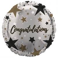 "Congratulations Gold and Black Stars 18"" Foil Balloon"