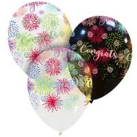 "Congratulations Fireworks 13"" Latex Balloons 50Ct"