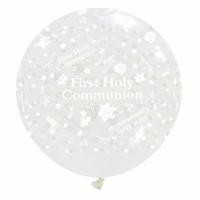 "First Holy Communion 32"" Clear Giant Latex Balloon"