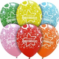 "Star Happy Birthday Multi Colour 12"" Latex 50ct"