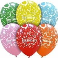 "Star Happy Birthday Multi Colour 12"" Latex 50ct"