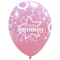 "Star Happy Birthday Pink 12"" Latex 50ct"