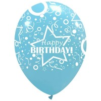 "Star Happy Birthday Sky Blue 12"" Latex 50ct"