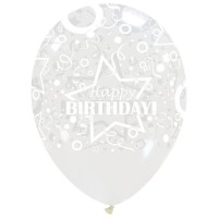 "Star Happy Birthday Clear 12"" Latex 50ct"