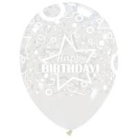 """Star Happy Birthday Clear 12"""" Latex 50ct"""