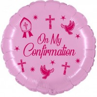 """Crozier Confirmation Pink 18"""" Foil Balloon UNPACKAGED"""