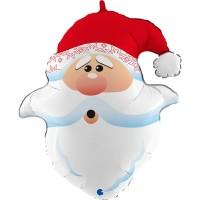 """Curious Santa Head 26"""" Foil Balloon"""