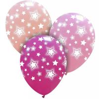 "Bright Pink Stars 12"" Latex 25ct"