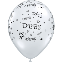 "Debs - Clear Latex Balloons - Black Print 11"" Round 25Ct"