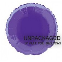 "Deep Purple - Round Shape - 18"" foil balloon (Pack of 12, Flat)"