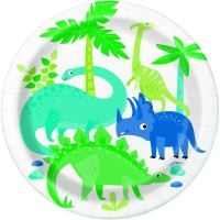 """Dino Party Time 7"""" Plates 8ct"""