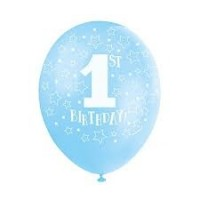 "Blue 1st Birthday 12"" 5Ct  Helium Fill Latex Balloon"