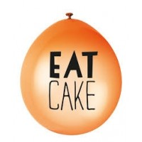 "Eat Cake 9"" Latex Air Fill Balloon - Assorted Colours, Printed 1 Side - 10ct."