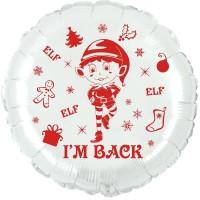 "Elf I'm Back 18"" Foil Balloon UNPACKAGED"