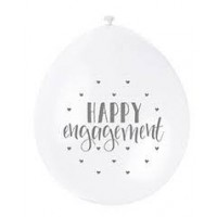 "Happy Engagement  9"" Latex Air Fill Balloon - Assorted Colours, Printed 1 Side - 10ct."