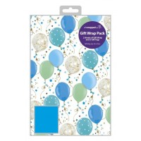 Blue Balloons - Packed Wrap H:69 x W:49 cm