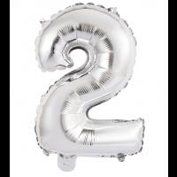 "14"" Silver Numeral 2 Foil Balloon"