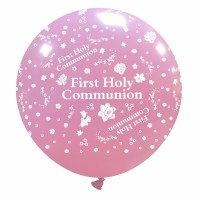"First Holy Communion 32"" Pink Giant Latex Balloon"