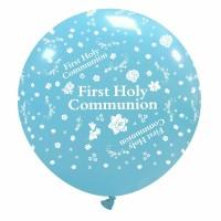 "First Holy Communion 32"" Sky Blue Giant Latex Balloon"